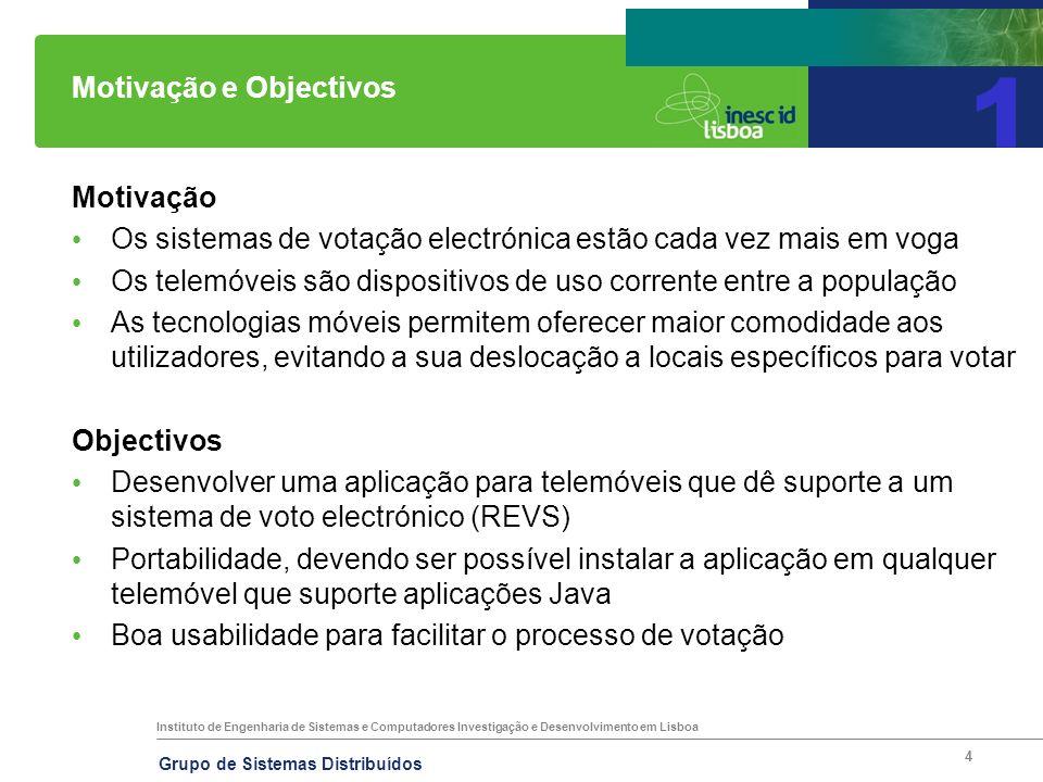 Instituto de Engenharia de Sistemas e Computadores Investigação e Desenvolvimento em Lisboa Grupo de Sistemas Distribuídos 4 Motivação e Objectivos Mo