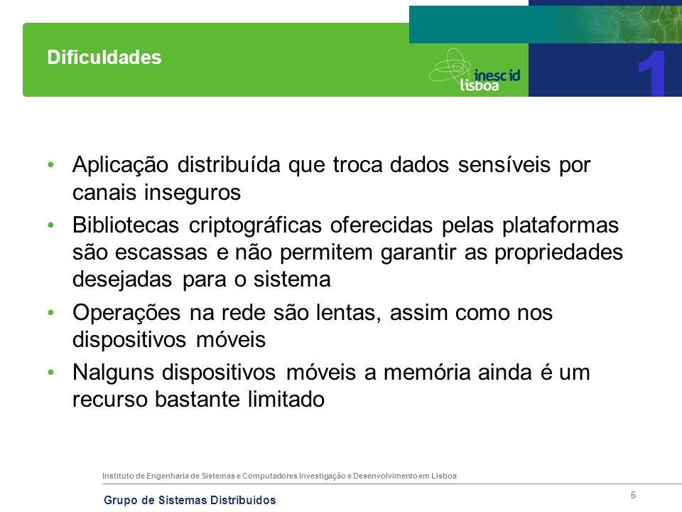 Instituto de Engenharia de Sistemas e Computadores Investigação e Desenvolvimento em Lisboa Grupo de Sistemas Distribuídos 6 Dificuldades Aplicação di