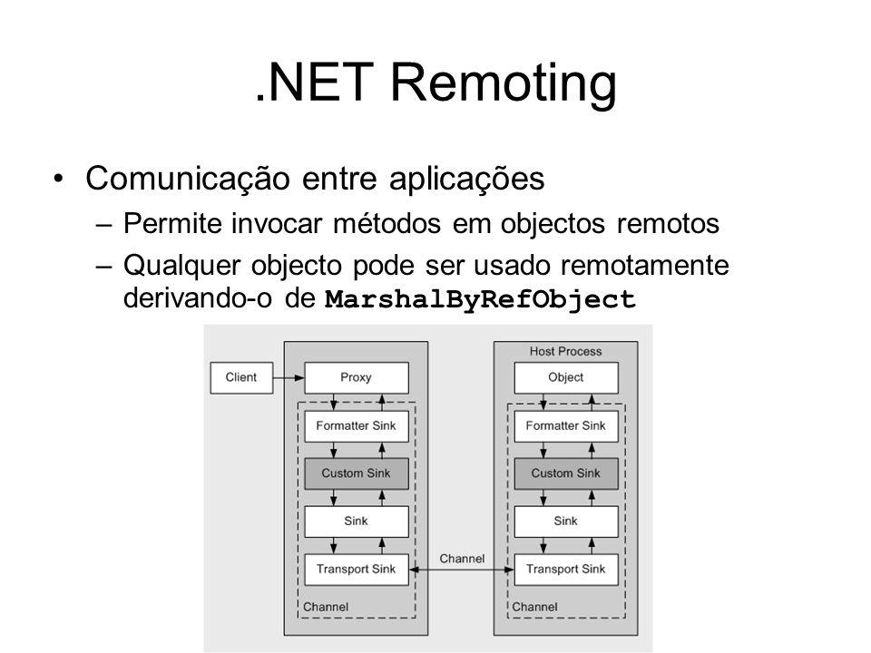 .NET Remoting Comunicação entre aplicações –Permite invocar métodos em objectos remotos –Qualquer objecto pode ser usado remotamente derivando-o de MarshalByRefObject