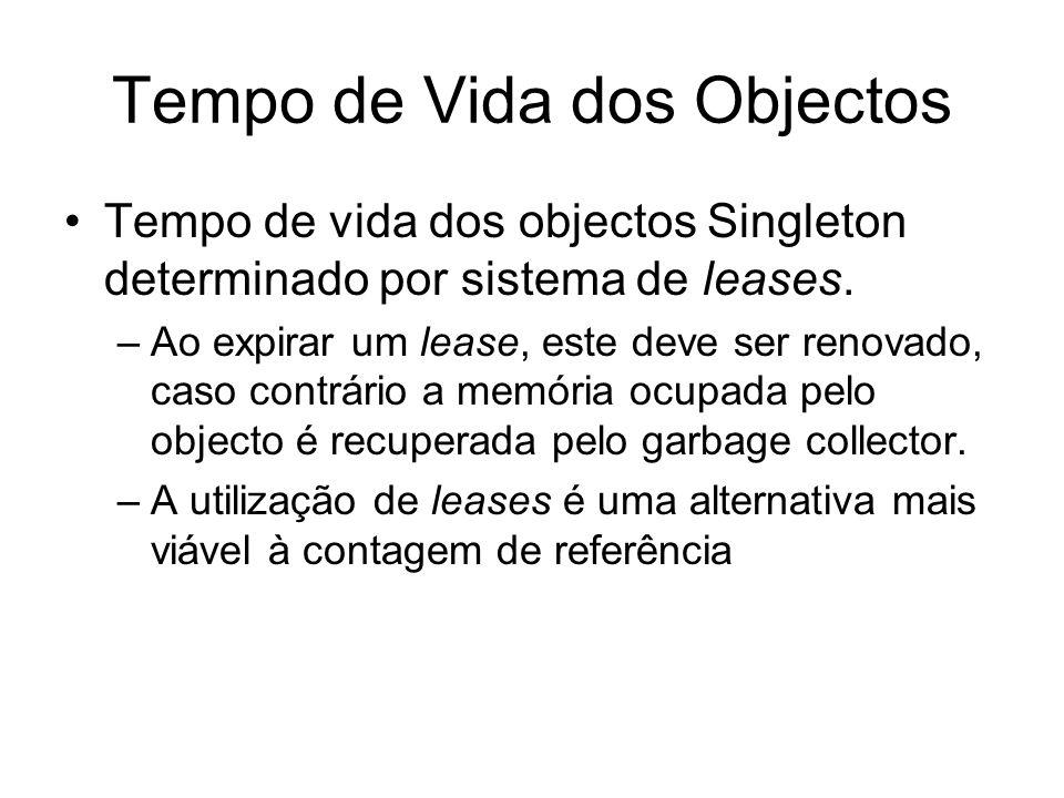 Tempo de Vida dos Objectos Tempo de vida dos objectos Singleton determinado por sistema de leases.