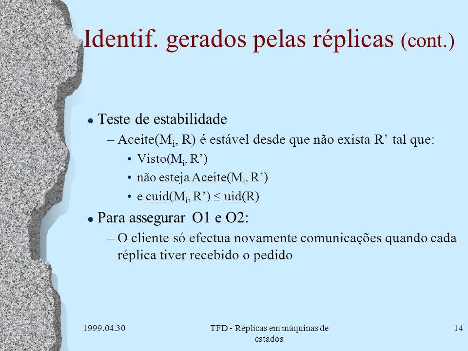 1999.04.30TFD - Réplicas em máquinas de estados 14 Identif. gerados pelas réplicas (cont.) l Teste de estabilidade –Aceite(M i, R) é estável desde que