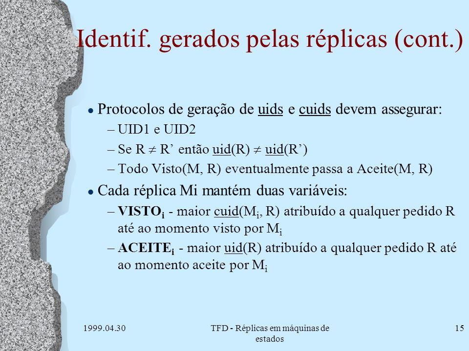 1999.04.30TFD - Réplicas em máquinas de estados 15 Identif. gerados pelas réplicas (cont.) l Protocolos de geração de uids e cuids devem assegurar: –U