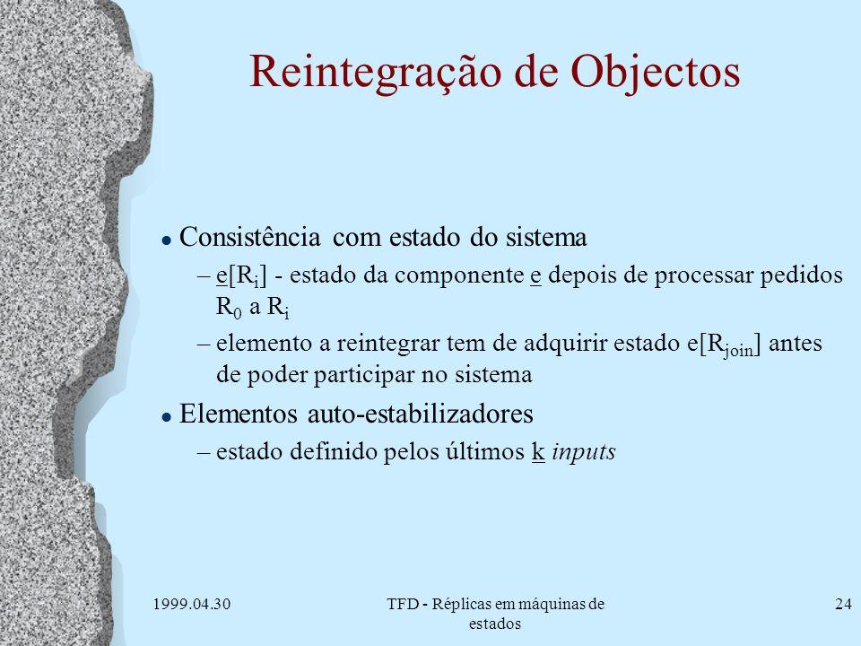 1999.04.30TFD - Réplicas em máquinas de estados 24 Reintegração de Objectos l Consistência com estado do sistema –e[R i ] - estado da componente e dep