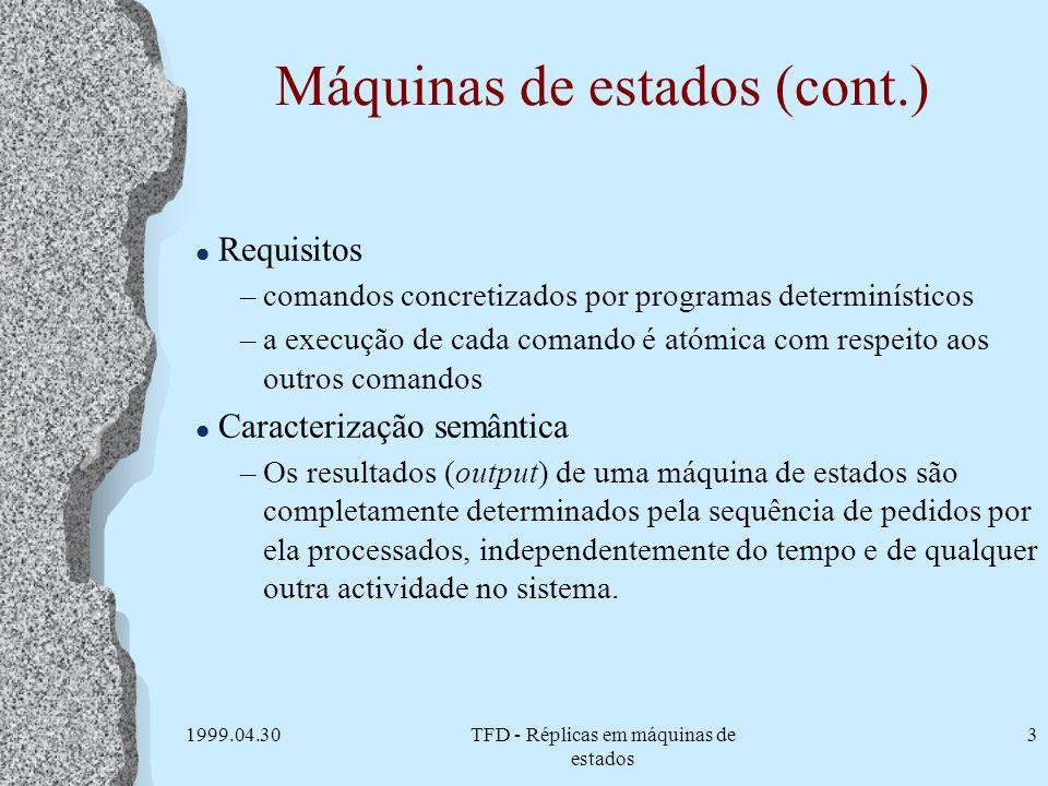 1999.04.30TFD - Réplicas em máquinas de estados 3 Máquinas de estados (cont.) l Requisitos –comandos concretizados por programas determinísticos –a ex