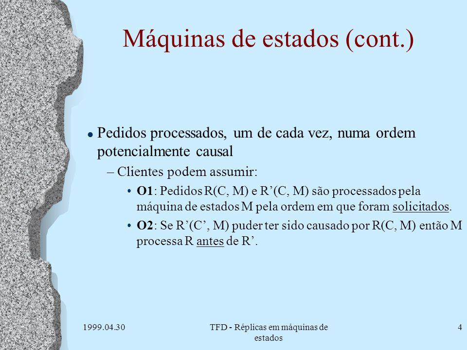 1999.04.30TFD - Réplicas em máquinas de estados 4 Máquinas de estados (cont.) l Pedidos processados, um de cada vez, numa ordem potencialmente causal