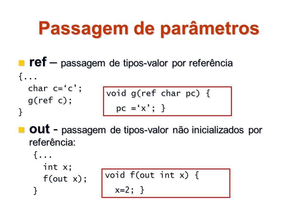 Passagem de parâmetros ref – passagem de tipos-valor por referência ref – passagem de tipos-valor por referência{... char c=c; char c=c; g(ref c); g(r