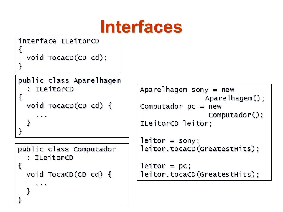 Interfaces interface ILeitorCD { void TocaCD(CD cd); void TocaCD(CD cd);} public class Aparelhagem : ILeitorCD { void TocaCD(CD cd) { void TocaCD(CD c