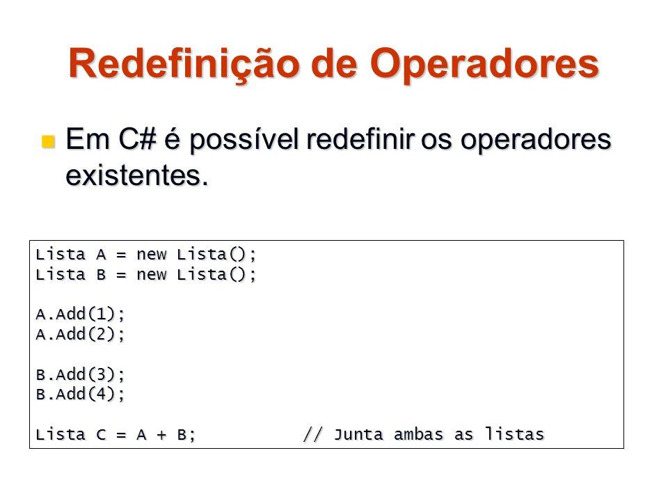 Redefinição de Operadores Em C# é possível redefinir os operadores existentes. Em C# é possível redefinir os operadores existentes. Lista A = new List