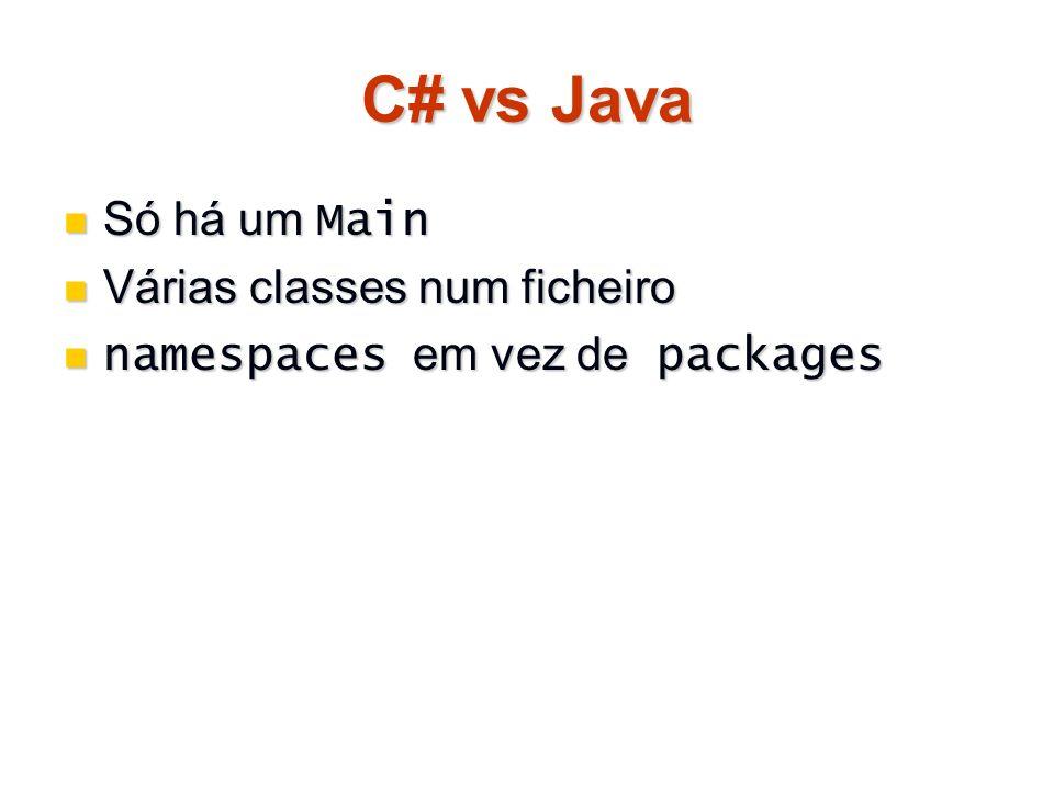 C# vs Java Só há um Main Só há um Main Várias classes num ficheiro Várias classes num ficheiro namespaces em vez de packages namespaces em vez de pack