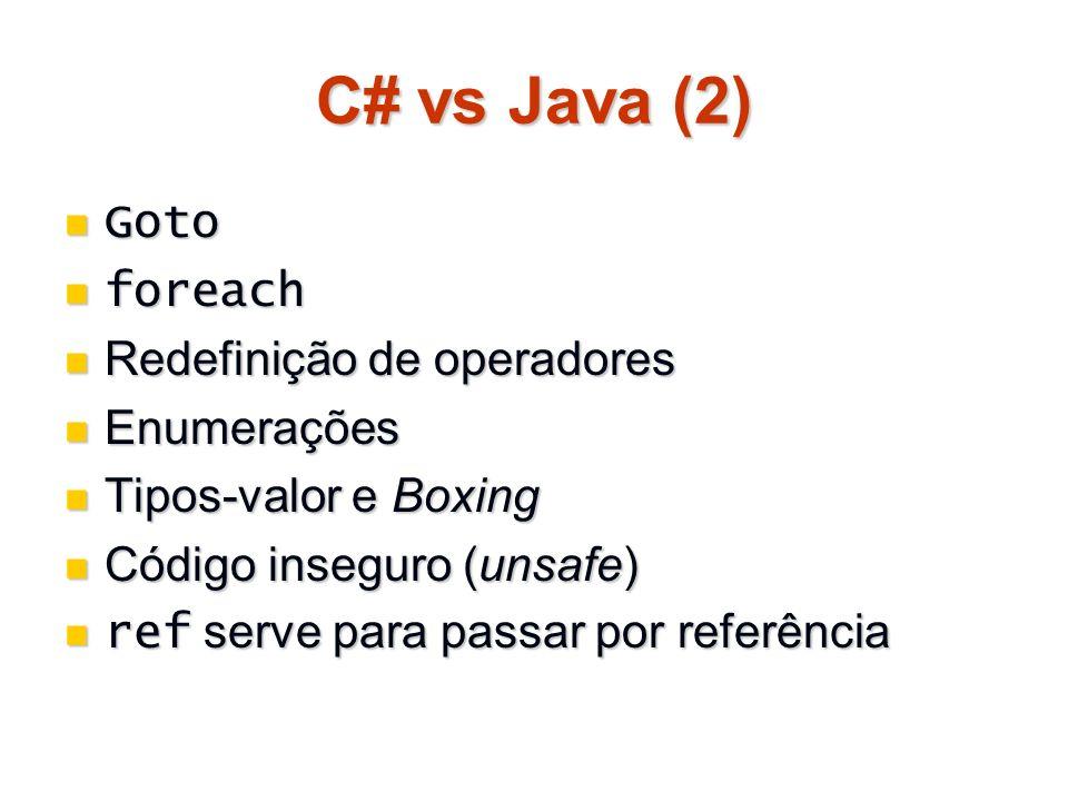 C# vs Java (2) Goto Goto foreach foreach Redefinição de operadores Redefinição de operadores Enumerações Enumerações Tipos-valor e Boxing Tipos-valor