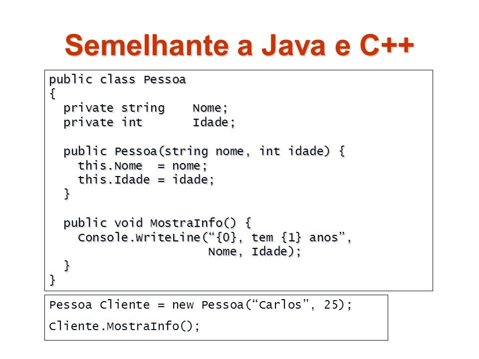 C# - Características Linguagem OO: Linguagem OO: Muito semelhante ao C++ / Java Muito semelhante ao C++ / Java É fácil começar a programar em C# É fácil começar a programar em C# Sistema unificado de tipos Sistema unificado de tipos Tudo pode ser visto como um objecto Tudo pode ser visto como um objecto Suporte directo à Programação Baseada em Componentes Suporte directo à Programação Baseada em Componentes Propriedades, Eventos e Atributos Propriedades, Eventos e Atributos Assemblies Assemblies