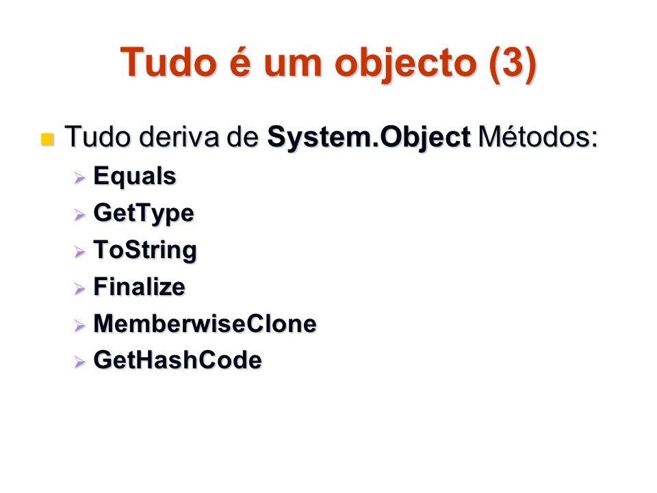 Tudo é um objecto (3) Tudo deriva de System.Object Métodos: Tudo deriva de System.Object Métodos: Equals Equals GetType GetType ToString ToString Fina