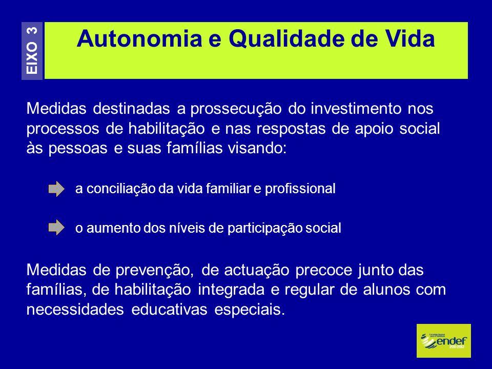 Medidas destinadas a prossecução do investimento nos processos de habilitação e nas respostas de apoio social às pessoas e suas famílias visando: a co
