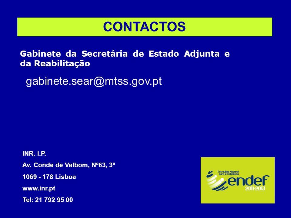 CONTACTOS gabinete.sear@mtss.gov.pt INR, I.P. Av. Conde de Valbom, Nº63, 3º 1069 - 178 Lisboa www.inr.pt Tel: 21 792 95 00 Gabinete da Secretária de E