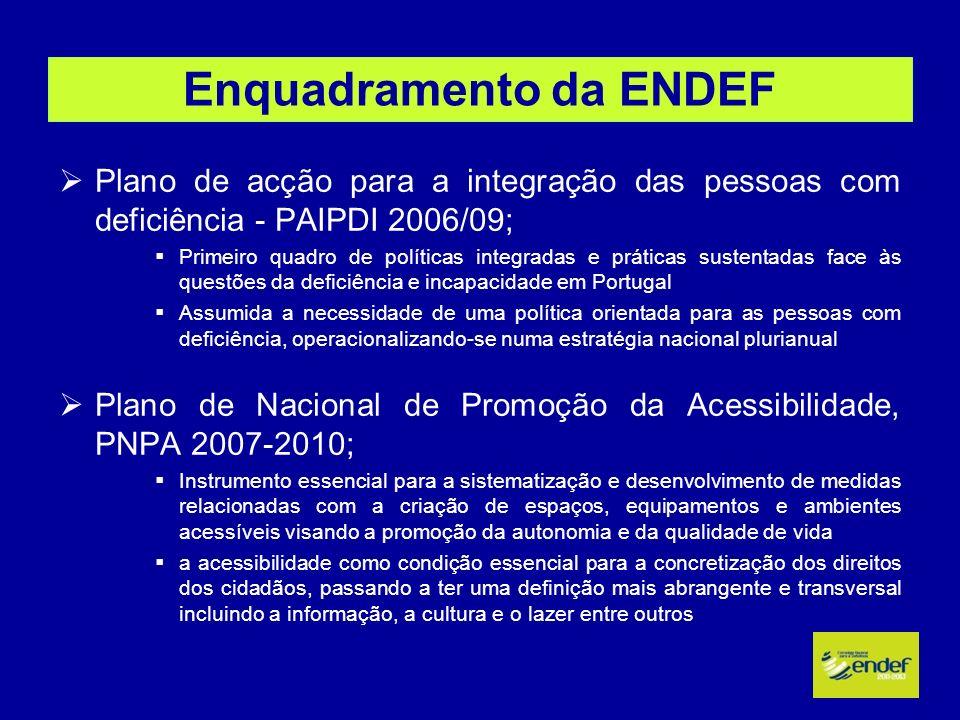 Enquadramento da ENDEF Plano de acção para a integração das pessoas com deficiência - PAIPDI 2006/09; Primeiro quadro de políticas integradas e prátic