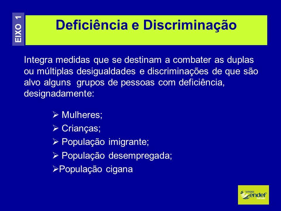 Deficiência e Discriminação EIXO 1 Integra medidas que se destinam a combater as duplas ou múltiplas desigualdades e discriminações de que são alvo al