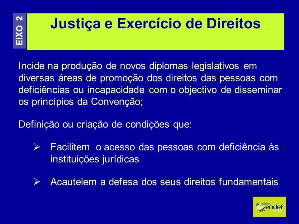 Incide na produção de novos diplomas legislativos em diversas áreas de promoção dos direitos das pessoas com deficiências ou incapacidade com o object