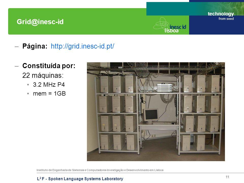 Instituto de Engenharia de Sistemas e Computadores Investigação e Desenvolvimento em Lisboa technology from seed L 2 F - Spoken Language Systems Laboratory 11 Grid@inesc-id –Página: http://grid.inesc-id.pt/ –Constituída por: 22 máquinas: 3.2 MHz P4 mem = 1GB