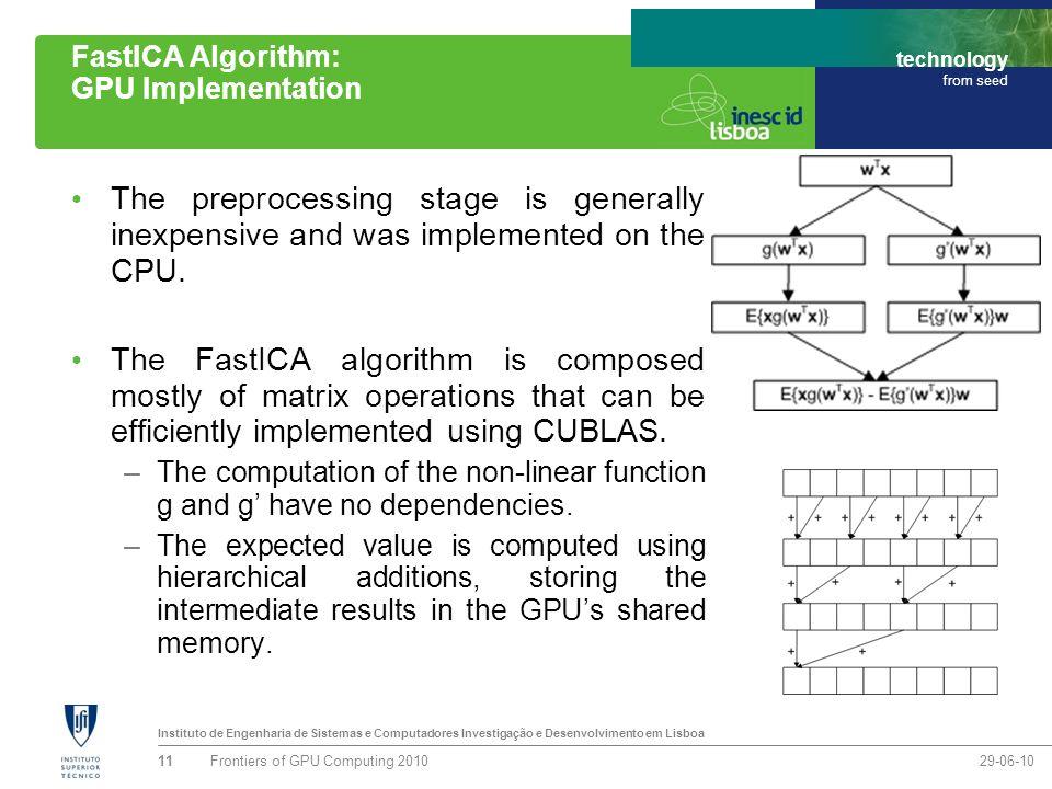 Instituto de Engenharia de Sistemas e Computadores Investigação e Desenvolvimento em Lisboa technology from seed FastICA Algorithm: GPU Implementation