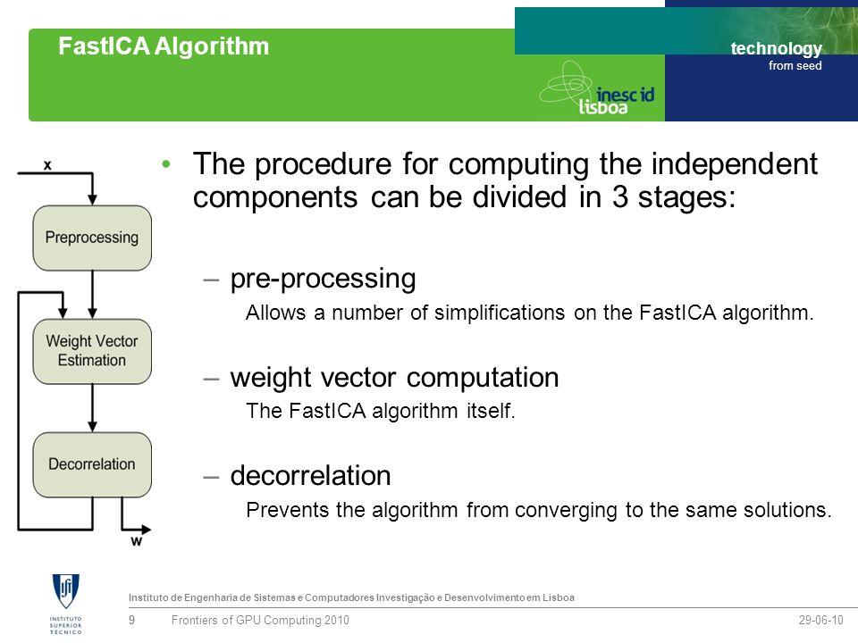Instituto de Engenharia de Sistemas e Computadores Investigação e Desenvolvimento em Lisboa technology from seed FastICA Algorithm: Preprocessing & Weight Vector Computation Preprocessing includes general tasks such as centering, whitening or filtering the data.