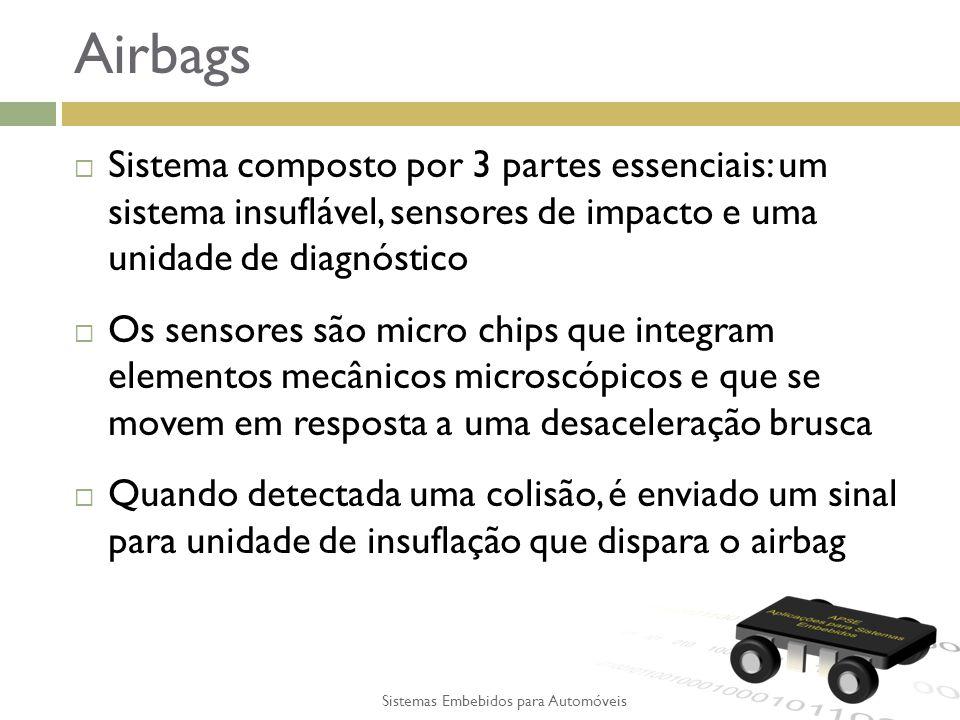 Airbags Sistema composto por 3 partes essenciais: um sistema insuflável, sensores de impacto e uma unidade de diagnóstico Os sensores são micro chips que integram elementos mecânicos microscópicos e que se movem em resposta a uma desaceleração brusca Quando detectada uma colisão, é enviado um sinal para unidade de insuflação que dispara o airbag Sistemas Embebidos para Automóveis