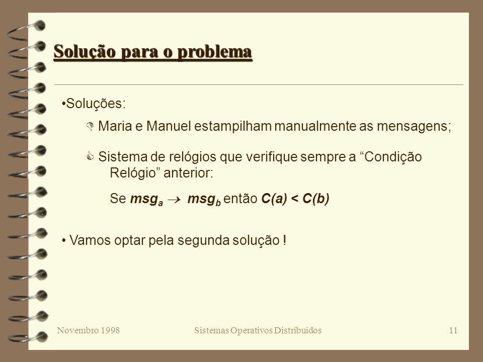 Novembro 1998Sistemas Operativos Distribuidos11 Solução para o problema Soluções: Maria e Manuel estampilham manualmente as mensagens; Sistema de relógios que verifique sempre a Condição Relógio anterior: Se msg a msg b então C(a) < C(b) Vamos optar pela segunda solução !