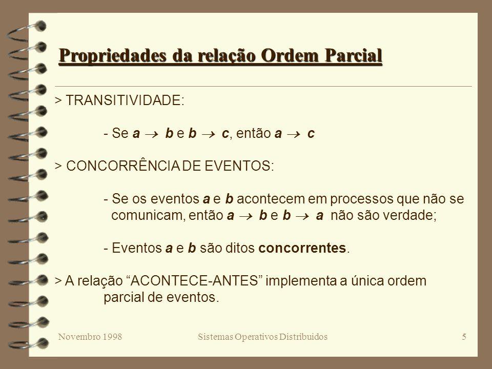 Novembro 1998Sistemas Operativos Distribuidos5 Propriedades da relação Ordem Parcial > TRANSITIVIDADE: - Se a b e b c, então a c > CONCORRÊNCIA DE EVENTOS: - Se os eventos a e b acontecem em processos que não se comunicam, então a b e b a não são verdade; - Eventos a e b são ditos concorrentes.