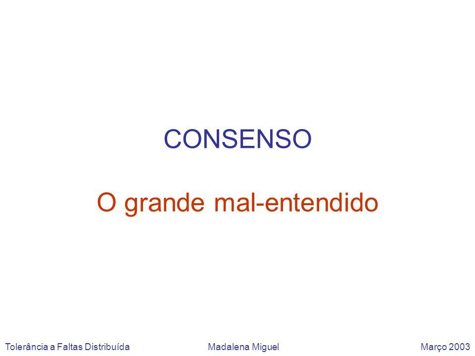 CONSENSO O grande mal-entendido Tolerância a Faltas Distribuída Madalena Miguel Março 2003