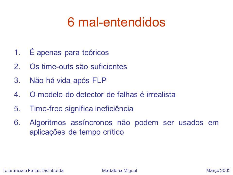 6 mal-entendidos 1.É apenas para teóricos 2.Os time-outs são suficientes 3.Não há vida após FLP 4.O modelo do detector de falhas é irrealista 5.Time-f