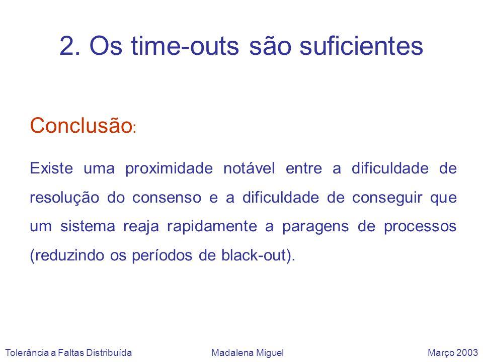 6 – Algoritmos assíncronos não servem para aplicações de tempo crítico Tolerância a Faltas Distribuída Madalena Miguel Março 2003