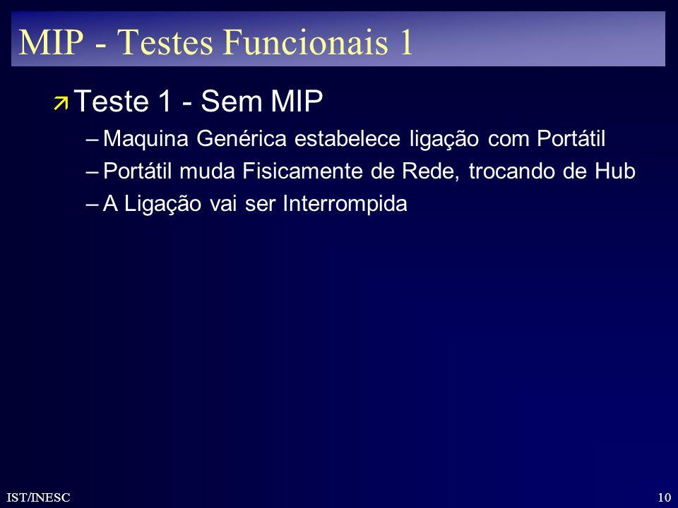 10 IST/INESC MIP - Testes Funcionais 1 ä Teste 1 - Sem MIP –Maquina Genérica estabelece ligação com Portátil –Portátil muda Fisicamente de Rede, troca