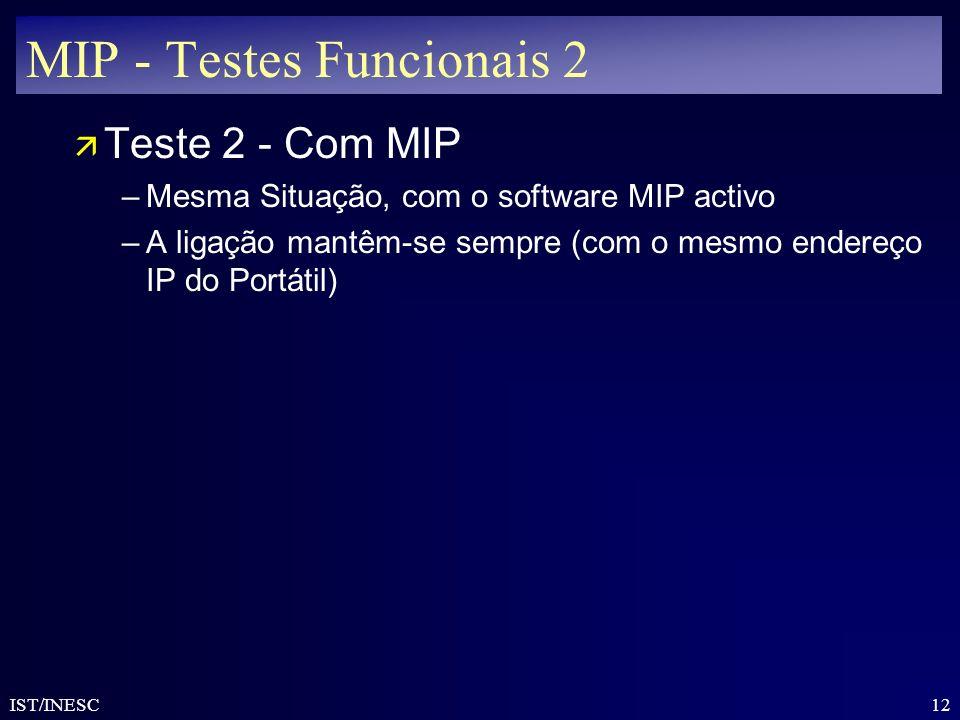 12 IST/INESC MIP - Testes Funcionais 2 ä Teste 2 - Com MIP –Mesma Situação, com o software MIP activo –A ligação mantêm-se sempre (com o mesmo endereç