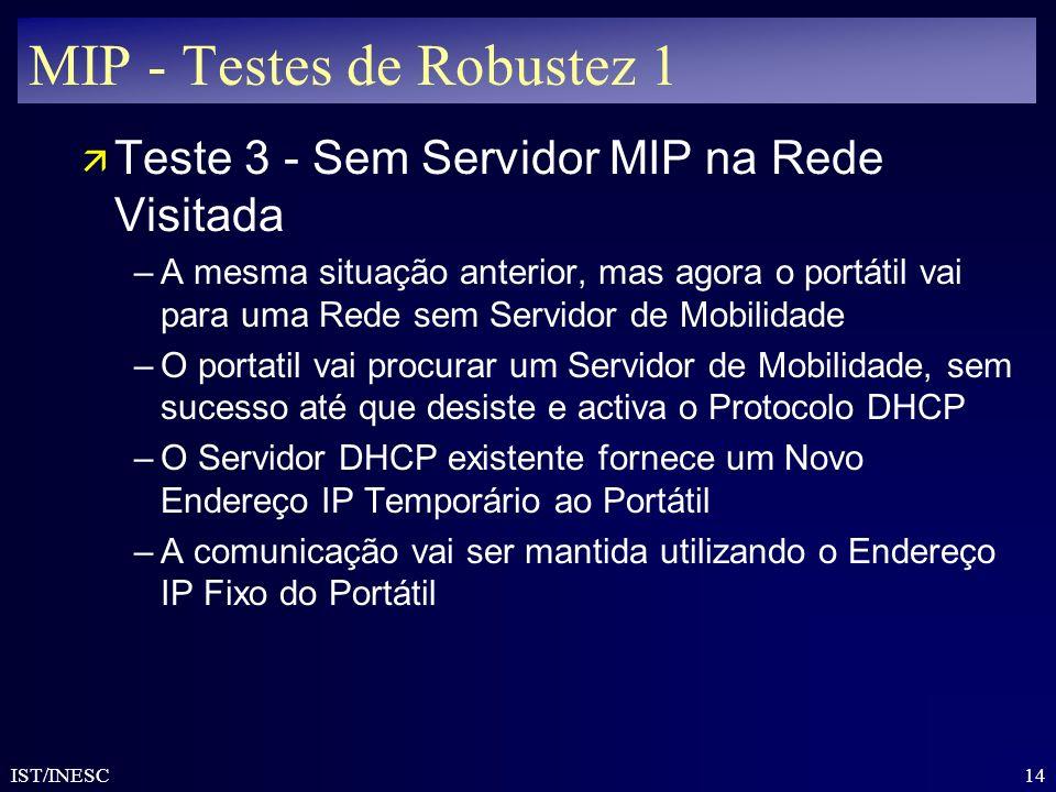 14 IST/INESC MIP - Testes de Robustez 1 ä Teste 3 - Sem Servidor MIP na Rede Visitada –A mesma situação anterior, mas agora o portátil vai para uma Re