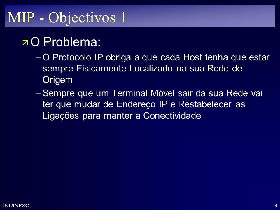 3 IST/INESC MIP - Objectivos 1 ä O Problema: –O Protocolo IP obriga a que cada Host tenha que estar sempre Fisicamente Localizado na sua Rede de Orige