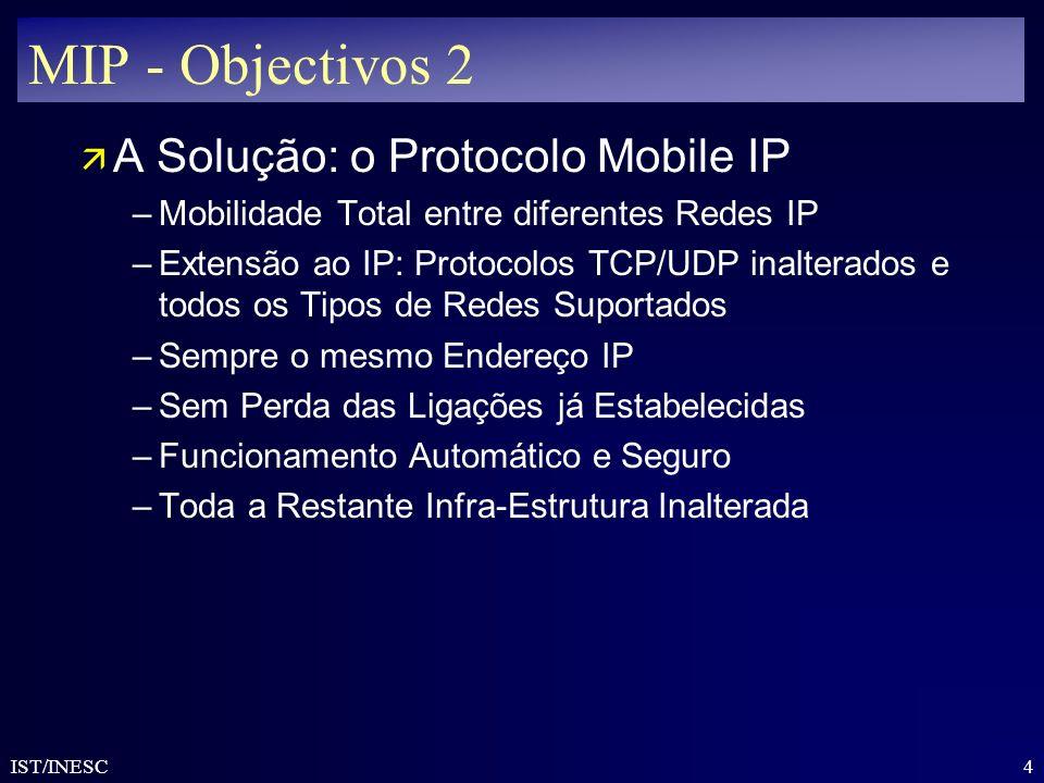 4 IST/INESC MIP - Objectivos 2 ä A Solução: o Protocolo Mobile IP –Mobilidade Total entre diferentes Redes IP –Extensão ao IP: Protocolos TCP/UDP inal