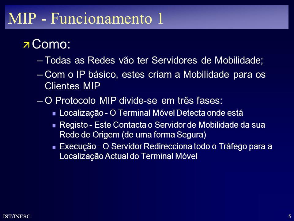 5 IST/INESC MIP - Funcionamento 1 ä Como: –Todas as Redes vão ter Servidores de Mobilidade; –Com o IP básico, estes criam a Mobilidade para os Cliente