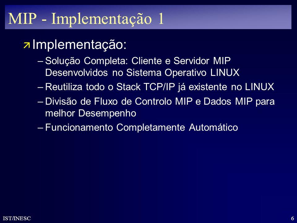6 IST/INESC MIP - Implementação 1 ä Implementação: –Solução Completa: Cliente e Servidor MIP Desenvolvidos no Sistema Operativo LINUX –Reutiliza todo