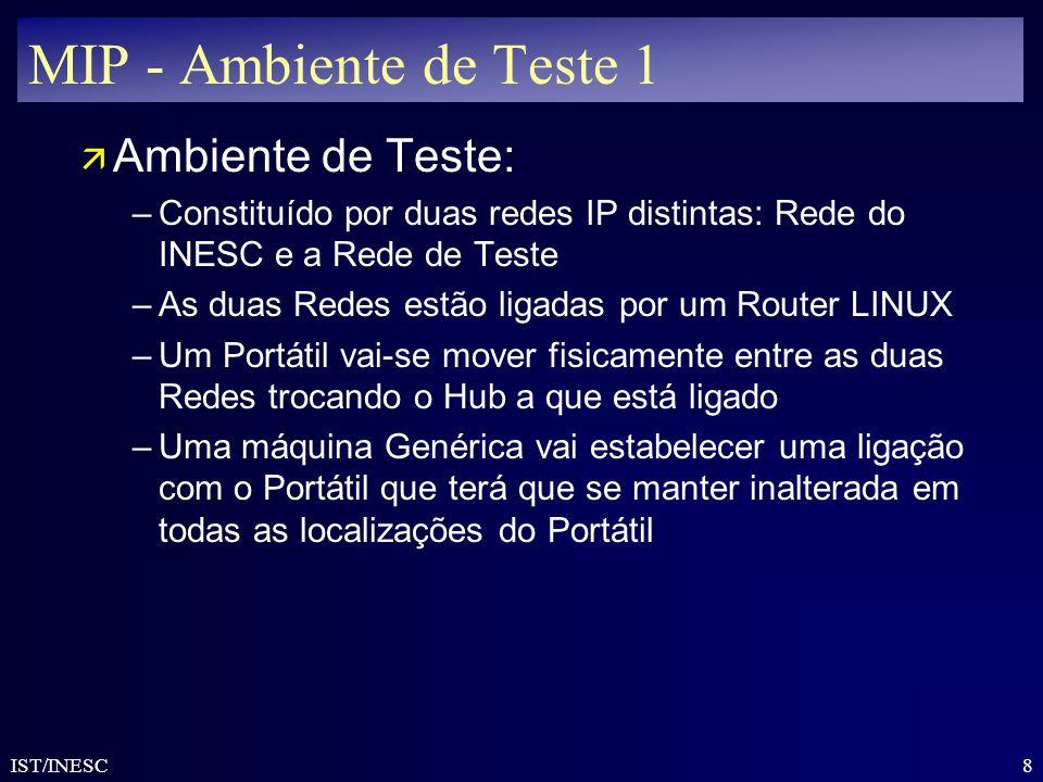 8 IST/INESC MIP - Ambiente de Teste 1 ä Ambiente de Teste: –Constituído por duas redes IP distintas: Rede do INESC e a Rede de Teste –As duas Redes es