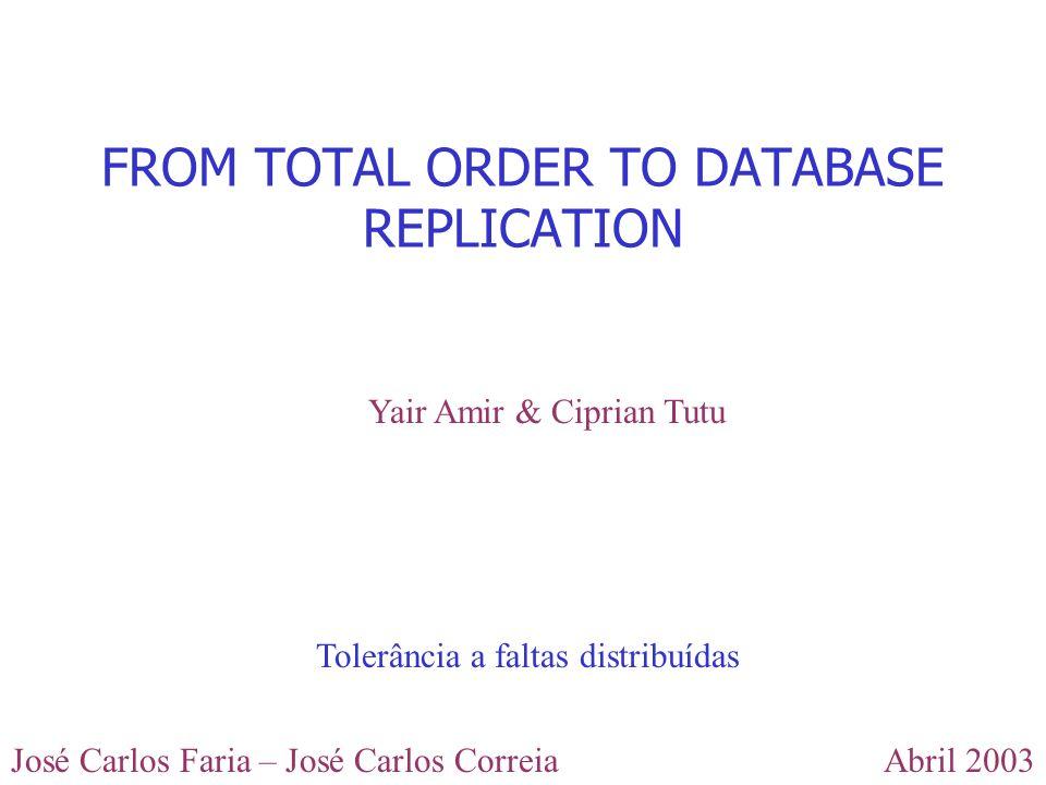 Abril 2003José Carlos Faria – José Carlos Correia EXTENDED VIRTUAL SYNCHRONY O EVS permite outra forma de entrega de mensagens, a safe delivery, que mantém a propriedade de ordem total.