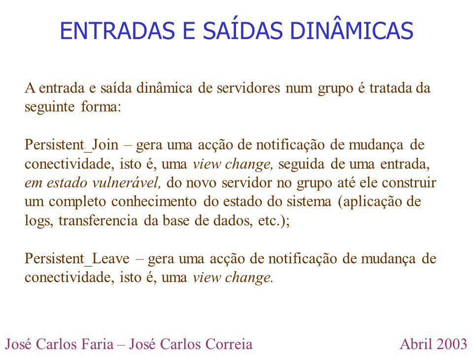 Abril 2003José Carlos Faria – José Carlos Correia ENTRADAS E SAÍDAS DINÂMICAS A entrada e saída dinâmica de servidores num grupo é tratada da seguinte