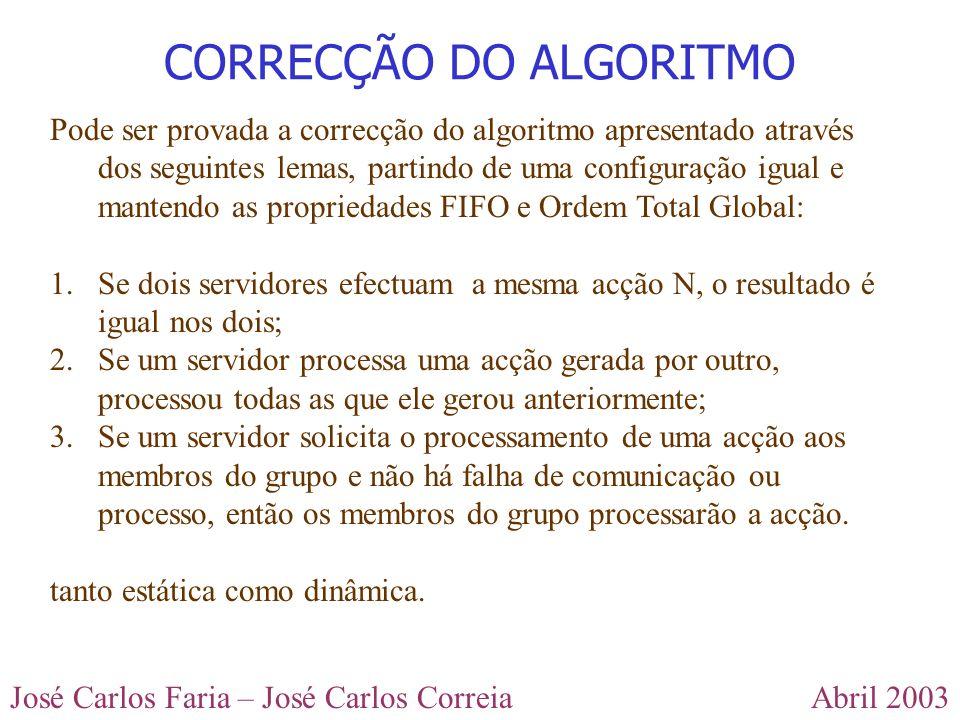 Abril 2003José Carlos Faria – José Carlos Correia CORRECÇÃO DO ALGORITMO Pode ser provada a correcção do algoritmo apresentado através dos seguintes lemas, partindo de uma configuração igual e mantendo as propriedades FIFO e Ordem Total Global: 1.Se dois servidores efectuam a mesma acção N, o resultado é igual nos dois; 2.Se um servidor processa uma acção gerada por outro, processou todas as que ele gerou anteriormente; 3.Se um servidor solicita o processamento de uma acção aos membros do grupo e não há falha de comunicação ou processo, então os membros do grupo processarão a acção.