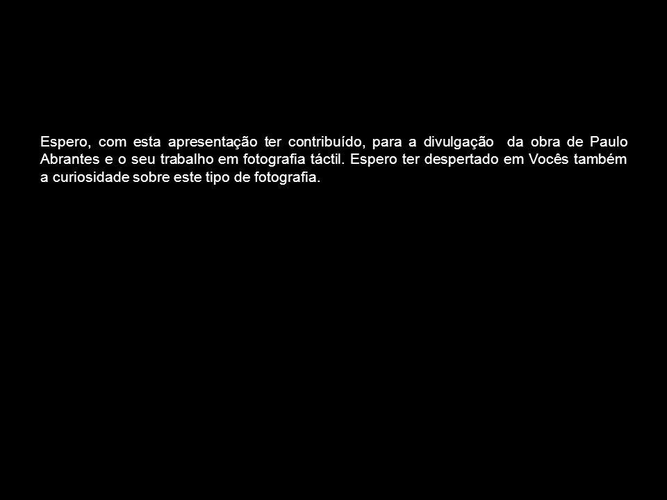 Espero, com esta apresentação ter contribuído, para a divulgação da obra de Paulo Abrantes e o seu trabalho em fotografia táctil. Espero ter despertad