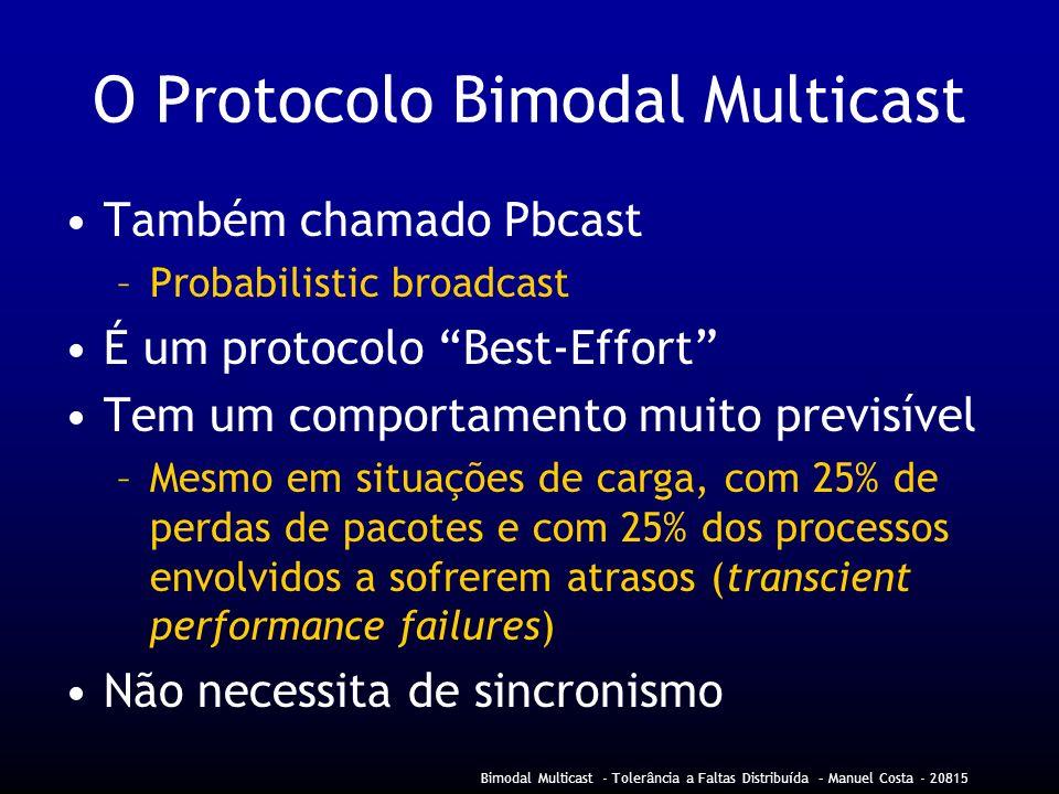 Bimodal Multicast - Tolerância a Faltas Distribuída – Manuel Costa - 20815 O Protocolo Bimodal Multicast Também chamado Pbcast –Probabilistic broadcast É um protocolo Best-Effort Tem um comportamento muito previsível –Mesmo em situações de carga, com 25% de perdas de pacotes e com 25% dos processos envolvidos a sofrerem atrasos (transcient performance failures) Não necessita de sincronismo