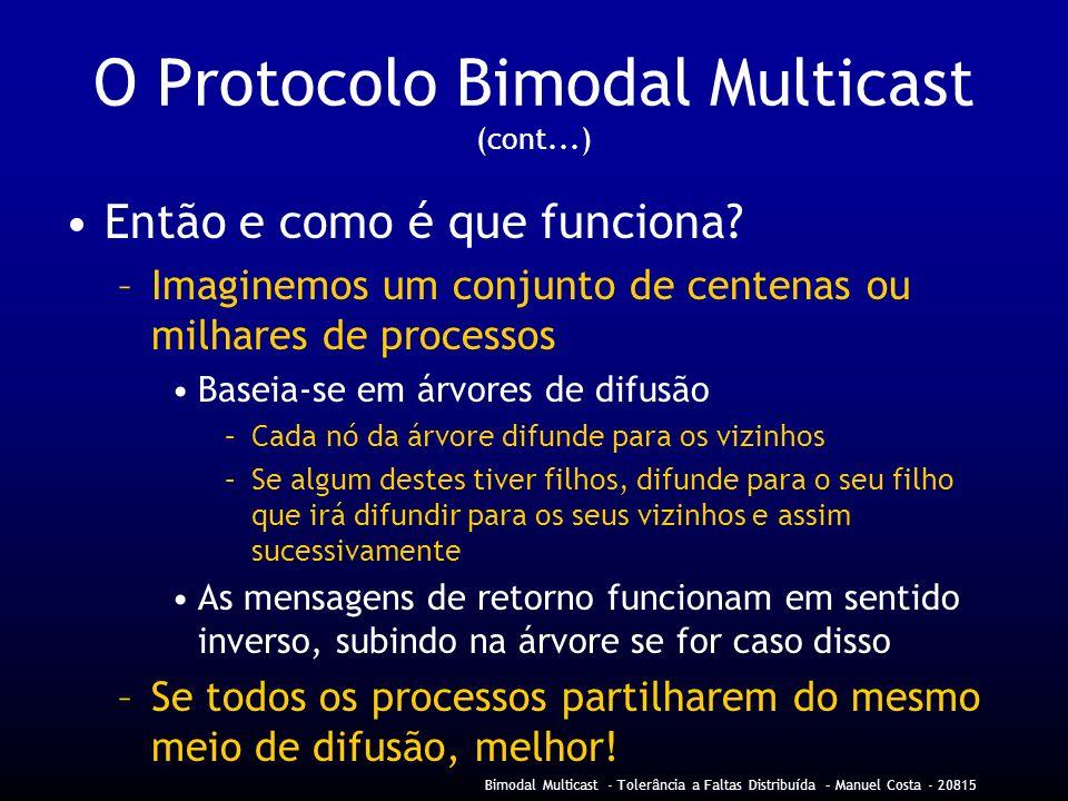 Bimodal Multicast - Tolerância a Faltas Distribuída – Manuel Costa - 20815 O Protocolo Bimodal Multicast (cont...) Então e como é que funciona.