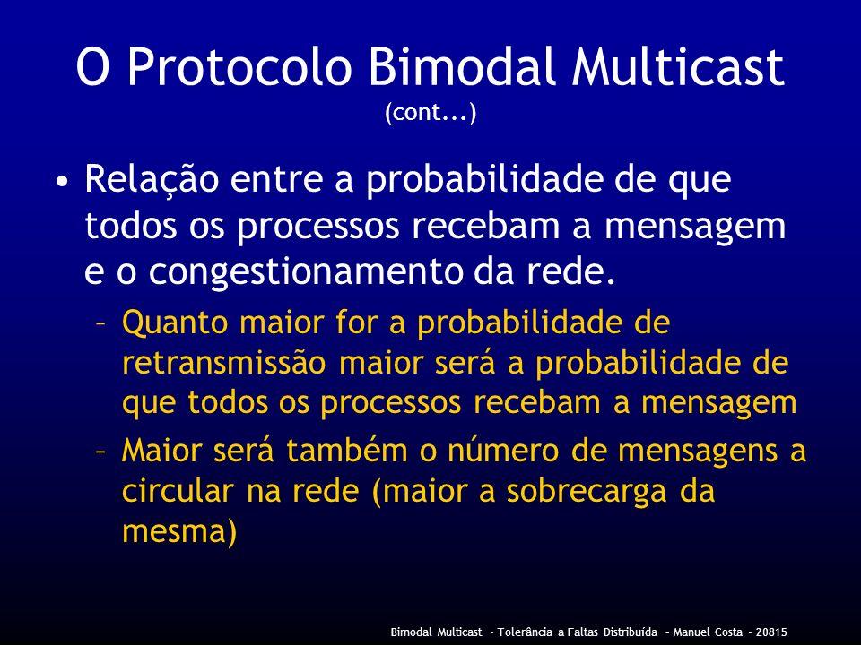 Bimodal Multicast - Tolerância a Faltas Distribuída – Manuel Costa - 20815 O Protocolo Bimodal Multicast (cont...) Relação entre a probabilidade de que todos os processos recebam a mensagem e o congestionamento da rede.