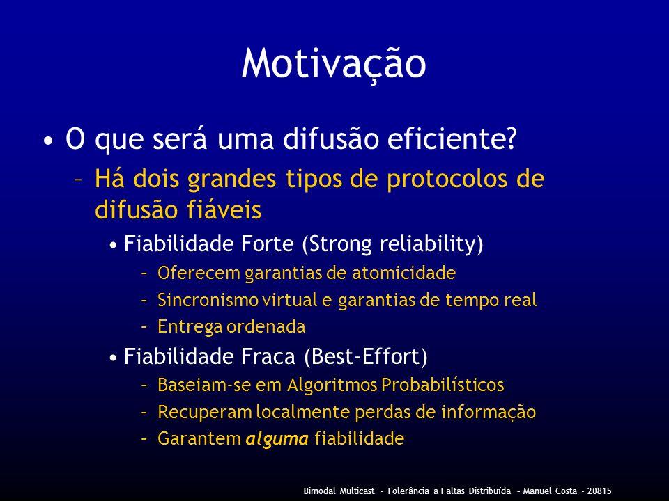 Bimodal Multicast - Tolerância a Faltas Distribuída – Manuel Costa - 20815 Motivação O que será uma difusão eficiente.