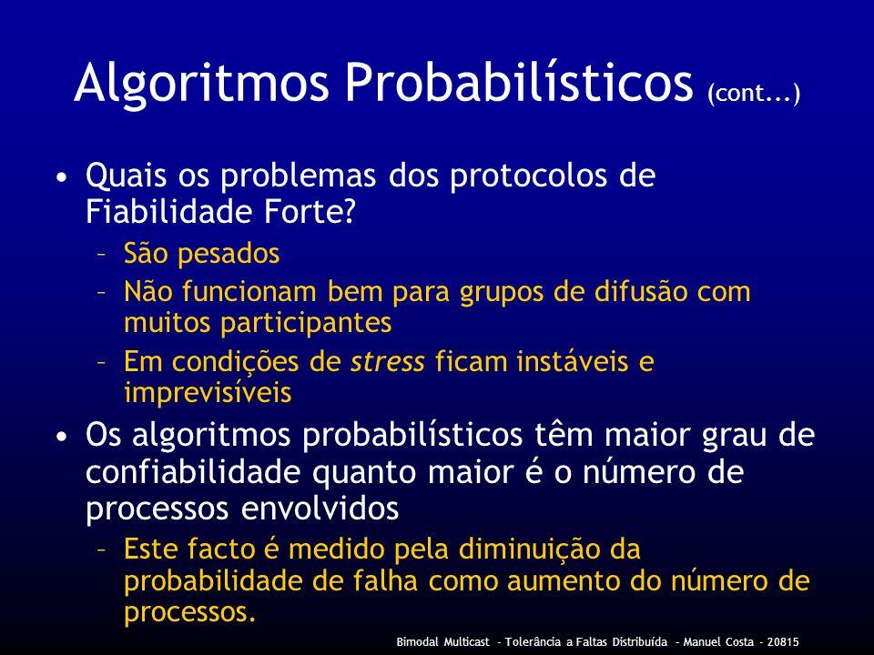 Bimodal Multicast - Tolerância a Faltas Distribuída – Manuel Costa - 20815 Algoritmos Probabilísticos (cont...) Quais os problemas dos protocolos de Fiabilidade Forte.