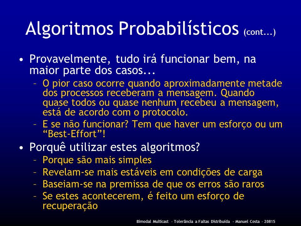 Bimodal Multicast - Tolerância a Faltas Distribuída – Manuel Costa - 20815 Algoritmos Probabilísticos (cont...) Provavelmente, tudo irá funcionar bem, na maior parte dos casos...