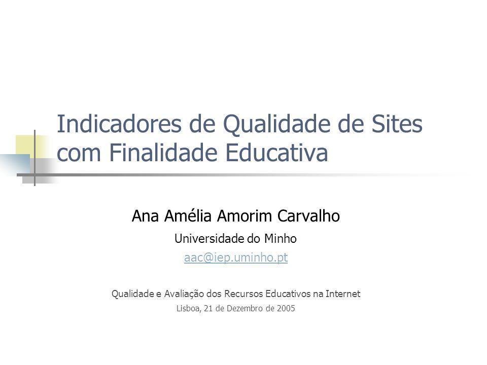 Indicadores de Qualidade de Sites com Finalidade Educativa Ana Amélia Amorim Carvalho Universidade do Minho aac@iep.uminho.pt Qualidade e Avaliação do