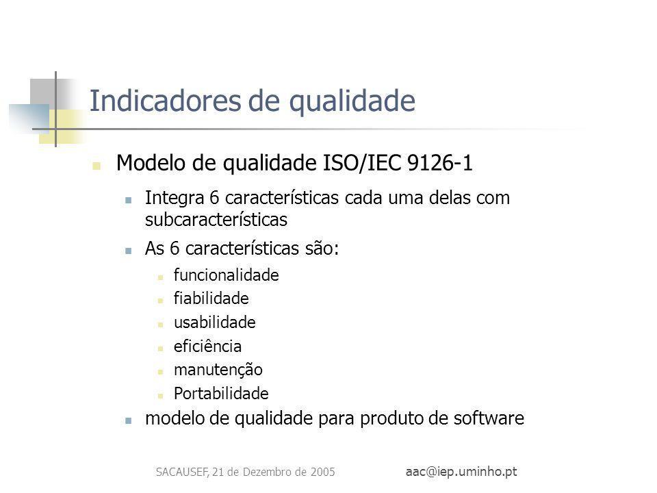 SACAUSEF, 21 de Dezembro de 2005 aac@iep.uminho.pt Indicadores de qualidade Modelo de qualidade ISO/IEC 9126-1 Integra 6 características cada uma dela